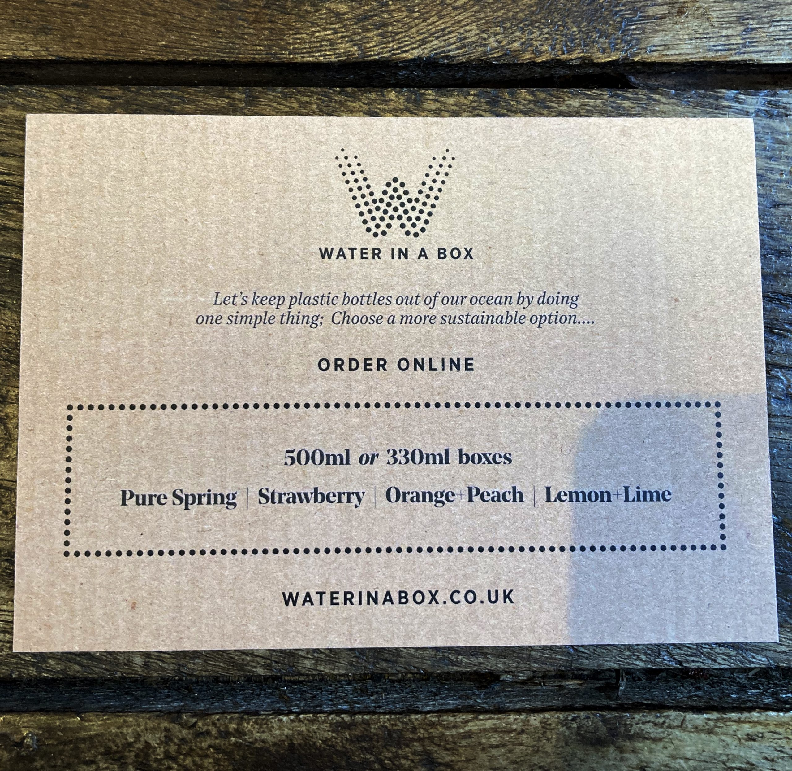 Water In A Box Flyer Back